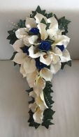 ARTIFICIAL FLOWERS IVORY BLUE CALLA LILY ROSE WEDDING TEARDROP BRIDE BOUQUET